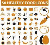 50 healthy food icons set,vector
