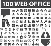 100 web office icons, vector