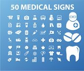 50 medical signs & icons set, vector
