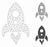 Mesh Startup Rocket Model With Triangle Mosaic Icon. Wire Carcass Polygonal Mesh Of Startup Rocket.  poster