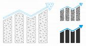 Mesh Trend Model With Triangle Mosaic Icon. Wire Carcass Triangular Mesh Of Trend. Vector Compositio poster