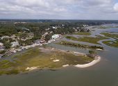 Aerial view of Murrells Inlet, South Carolina and coastline. poster