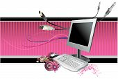 image of computer technology  - computer vector abstract composition illustration over a purple background - JPG