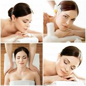 Women Relaxing In Spa Collection. Wellness, Healing, Rejuvenation, Health Care And Aroma Therapy. poster