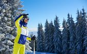 Cropped View Of Female Skier In Goggles Shielding From Sun With Her Hand And Looking Into Distance.  poster