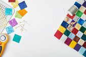 Part Of Quilt Sewn From Colorful Square Pieces, Bright Square Pieces Of Fabric, Quilting And Sewing  poster