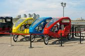 Tricycle Transportation For Sightseeing Tours. Fiets Taxi Or Bicycle Taxi. Tuk Tuk Small Passenger T poster