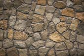 Brown Stone Texture, Retro Style. Brick Wall Background. Abstract Rocks Pattern. Gray Stones, Textur poster