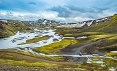 Scenic Highland Area Of Landmannalaugar In Iceland poster