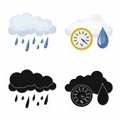 Vector Illustration Of Weather And Climate Logo. Collection Of Weather And Cloud Vector Icon For Sto poster