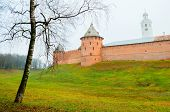 Veliky Novgorod, Russia. Fedor Tower And Clock Tower Of Veliky Novgorod Kremlin At Autumn Foggy Day. poster