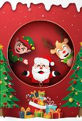 Origami Paper Art Of Santa Claus, Reindeer And Elf At The Window With Christmas Gift, Merry Christma poster
