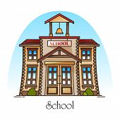 Facade Of School Building With Bell Or College Construction With Ring. College Or Public Education S poster