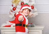 Christmas Tree Ideas For Kids. Boy Kid Dressed As Cute Elf Magical Creature White Artificial Ears An poster