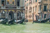 Venice Grand Canal (canal Grande). Beautiful Ancient Architecture And Gondolas. poster