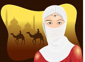 Portrait of a Arabian woman in hijab with desert silhouette. EPS 10. Vector illustration.