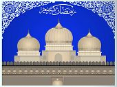 Arabic Islamic calligraphy of Ramazan Kareem text with Mosque or Masjid on modern abstract background in blue and silver color. EPS 10 Vector Illustration.