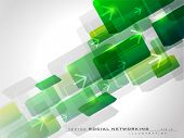 Abstract green background with arrows having shiny effect on white background and copy space. EPS 10