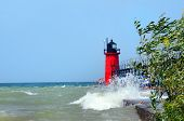 Rough Water Causes Pier To South Haven Light To Close poster