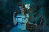 Vampires. Charming and terrible vampire woman in the old abandoned castle. Vintage style. Halloween. poster