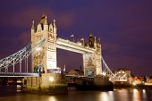 London River Thames and Tower Bridge Landmark of England United Kingdom at Dusk poster