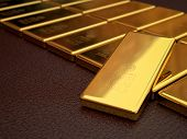 stock photo of safe haven  - 3d modeling and rendering of gold bars - JPG