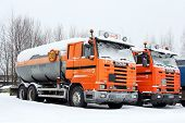 Row Of Orange Scania Trucks