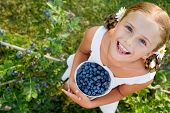 Blueberries, summer, child - Lovely girl with fresh blueberries in the garden