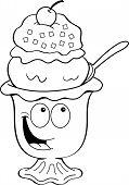 Cartoon ice cream sundae