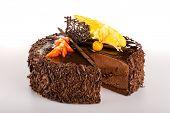 Chocolate cake with fresh strawberry dessert sweet tart