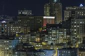 SAN FRANCISCO, CALIFORNIA - JAN 13: View of Nob Hill tourist area. San Francisco's 80% hotel occupan