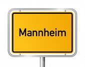 City limit sign Mannheim against white background - signage - Baden Wuerttemberg, Baden Wurttemberg,