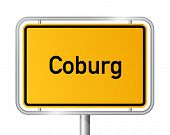 City limit sign Coburg against white background - signage - Bavaria, Bayern, Germany