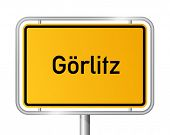 City limit sign Goerlitz against white background - signage - Saxony - Gorlitz, Sachsen, Germany