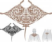 Maori styled tattoo pattern in shape of manta ray. Fit for upper and lower back. Editable vector illustration.