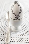picture of decoupage  - White Easter egg decorated with baroque decoupage - JPG