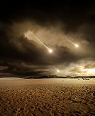 stock photo of meteoric rain  - Some meteors rain from the sky through clouds - JPG