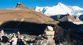 panoramatic view of Cho Oyu - way to Cho Oyu base camp