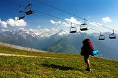 view from Kitzbuheler Alpen to Hohe Tauern with chairlift