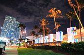 MIAMI, FL - FEB 8: Bayside Marketplace at night on February 8, 2012 in Miami, Florida. It is a festi