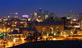 picture of kansas  - Night time image of the Kansas City Missouri skyline - JPG