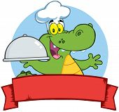 Crocodile Chef Holding A Platter Over A Blank Banner