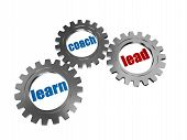 Learn, Coach And Lead In Silver Grey Gearwheels