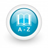 dictionary blue circle glossy web icon on white background