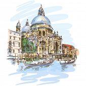 Venice - Cathedral of Santa Maria della Salute - vector sketch. Eps10