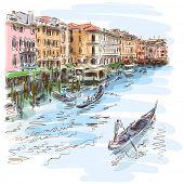 Venetië - Canal Grande. De weergave van de Rialtobrug. Vector schets. Eps10