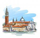 Venice - Island of San Giorgio Maggiore. Vector sketch. Eps10