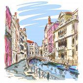 Venice - Fondamenta Rio Marin. Vector sketch. Eps10