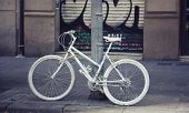 white painted city bicycle fixed gear