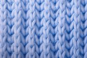 Blue Wool Knitted Background
